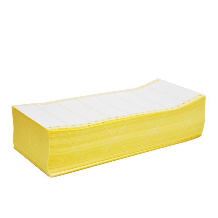 Witte papieren etiketten, 89 x 23,4 mm., pinfeed op vel, 4000 etiketten per doos