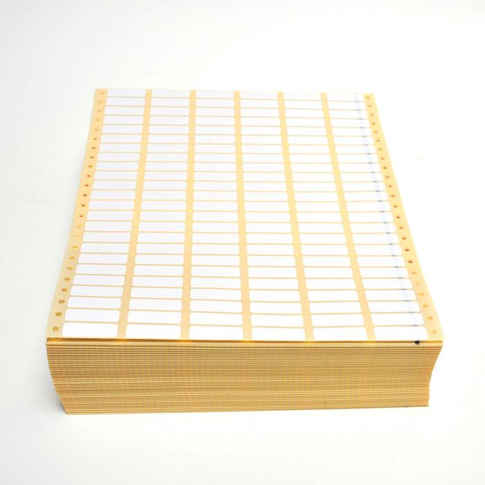 Witte papieren etiketten, 35 x 11 mm. pinfeed 6 baans 300000004