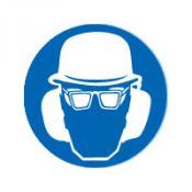 Helm bril en gehoorbeschermers bord