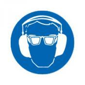 Bril en gehoorbeschermers bord