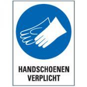Handschoenen + tekst bord