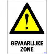 Gevaarlijke zone + tekst sticker